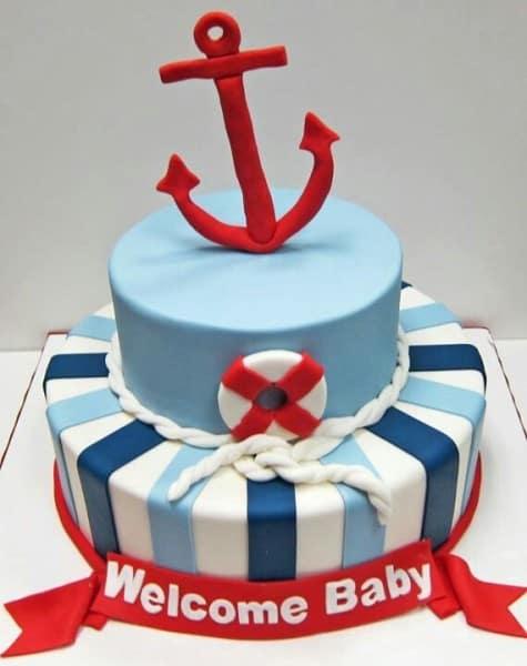 bolo para chá de bebê marinheiro pasta americana