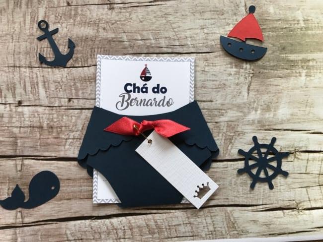 convite de chá de bebê marinheiro de fraldinha