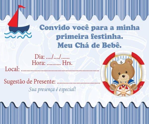 convite de chá de bebê marinheiro para imprimir