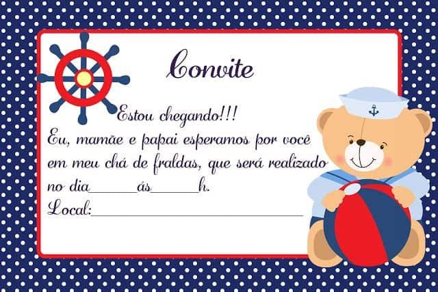 convites chá de bebê marinheiro ursinho