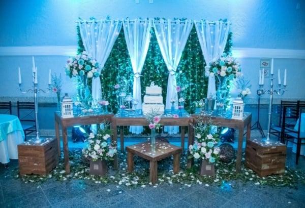 cores festa 15 anos azul mesa provencal