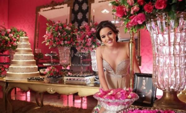 cores para festa 15 anos mesa rosa