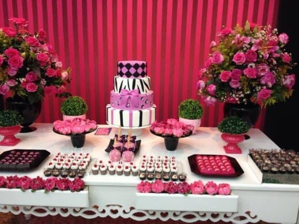 cores para festa 15 anos rosa e preto