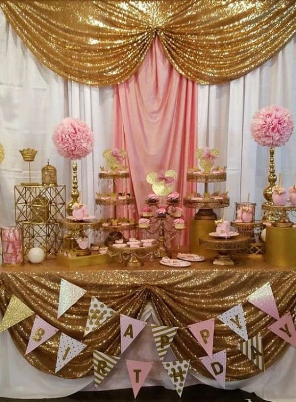 cores para festa de 15 anos dourado simples