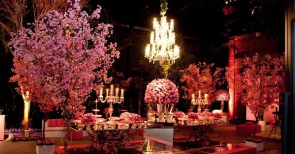 cores para festa de 15 anos mesa living coral