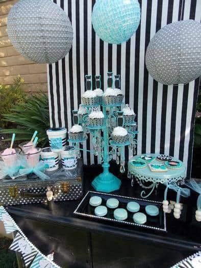 cores para festa de 15 anos verde mesa de cupcake