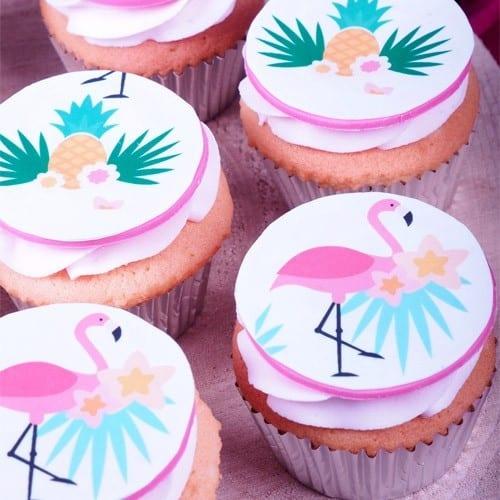 cupcake de flamingo com foundant