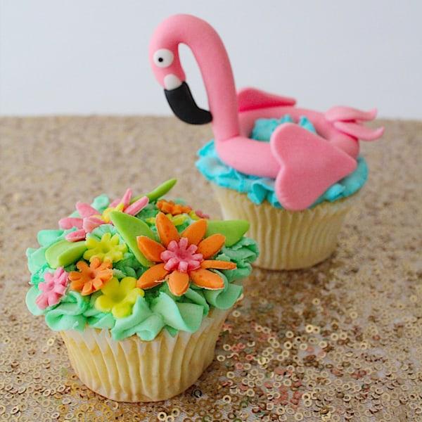 cupcake de flamingo tropical