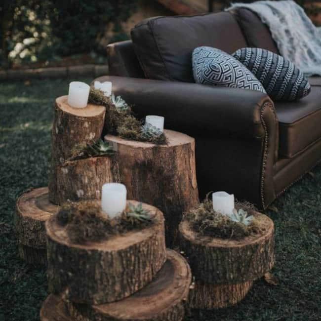 Decoração com troncos