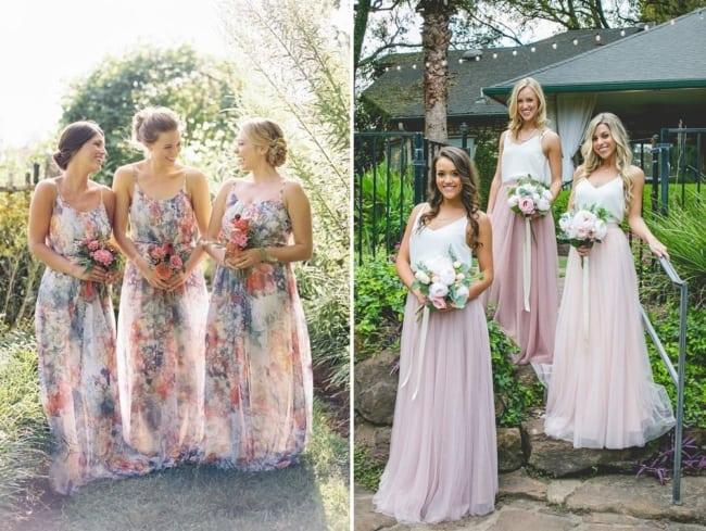 duas opções de vestidos de madrinha