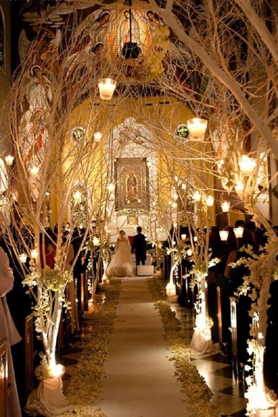 galhos em igreja para casamento