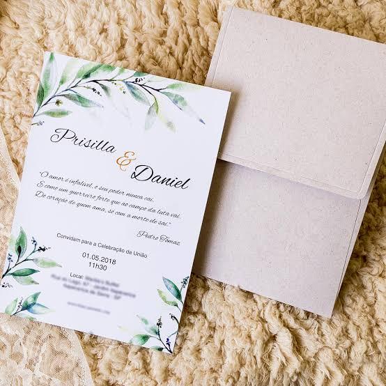 ideia de convite para casamento ao ar livre