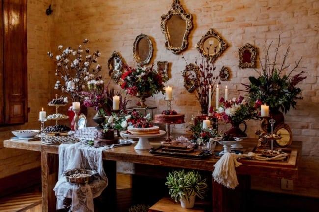 mesa de casamento rústico