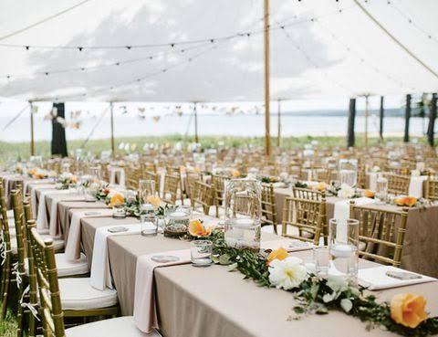 mesas de casamento ao ar livre de dia