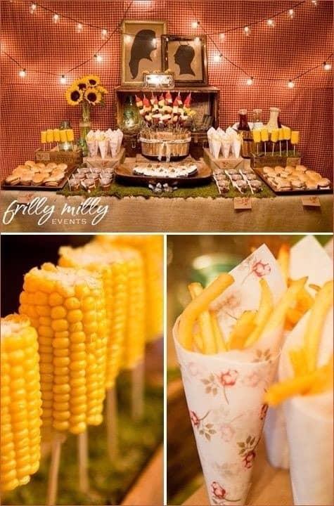 milho e batatinhas fritas em casamento rústico
