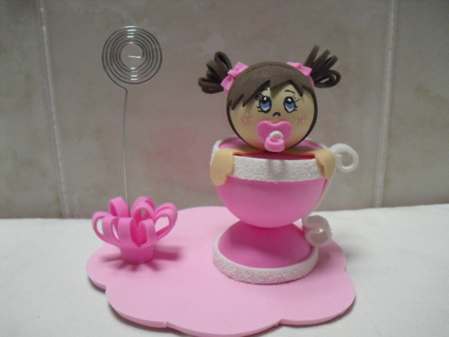 porta recadinhos rosa para chá de bebê