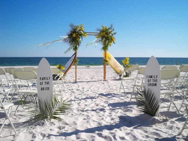pranchas de casamento na praia