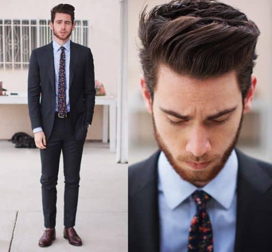 terno para convidados com gravata estampada