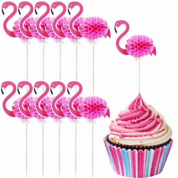 topper de flamingo para cupcake