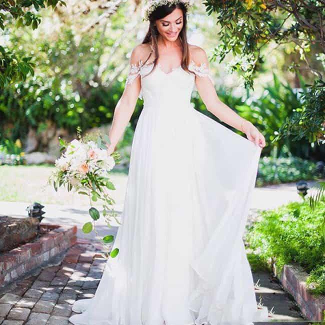 vestido de noiva rústico com manga princesa