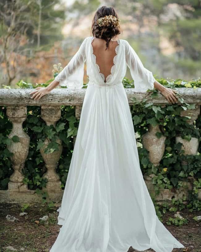 vestido de noiva rústico com tecido leve