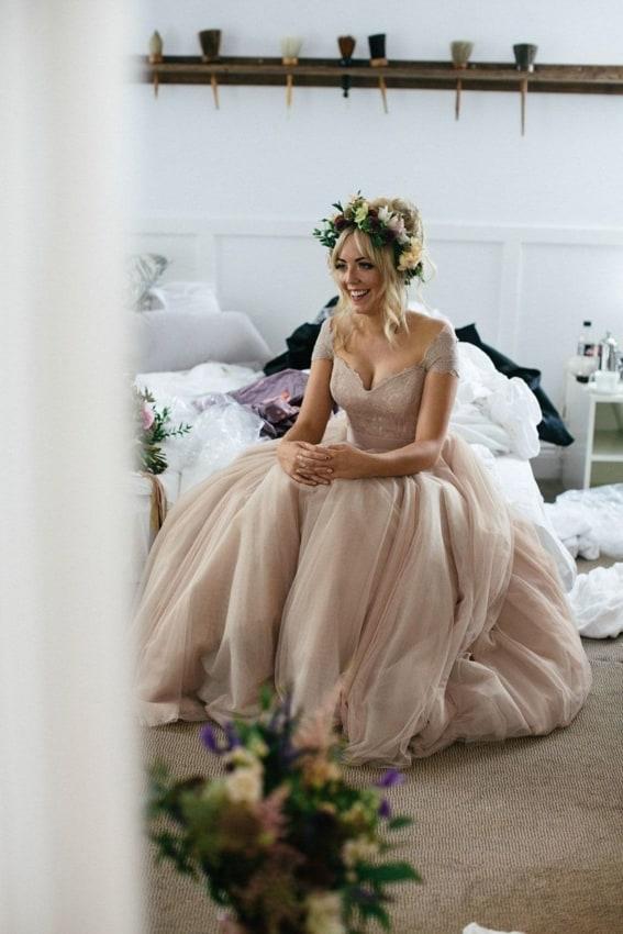 vestido de noiva rústico de off white