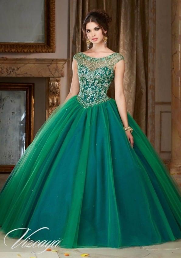 vestido verde de debutante