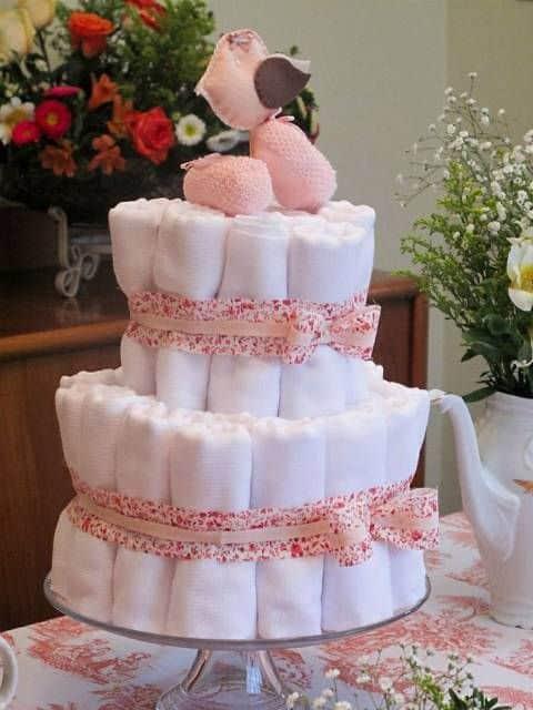 bolo de fraldinhas de tecido