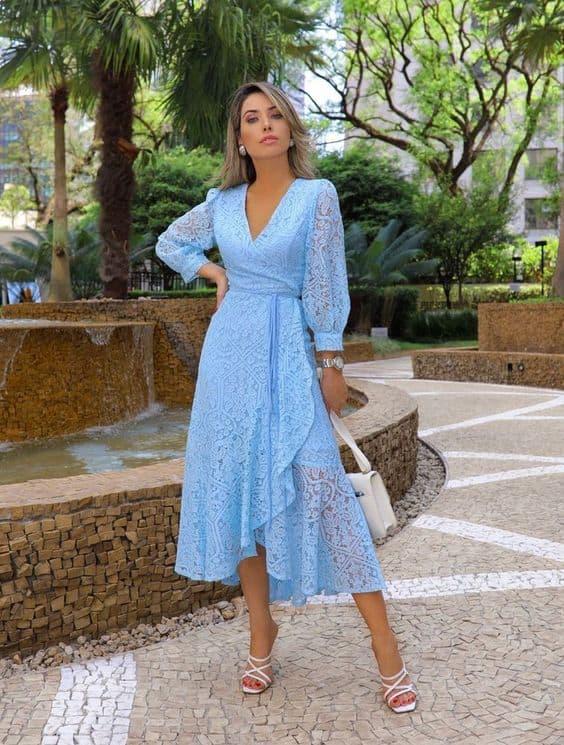 vestido azul para casamento civil