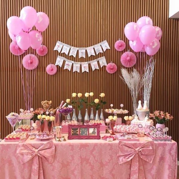 decoração rosa chá de bebê
