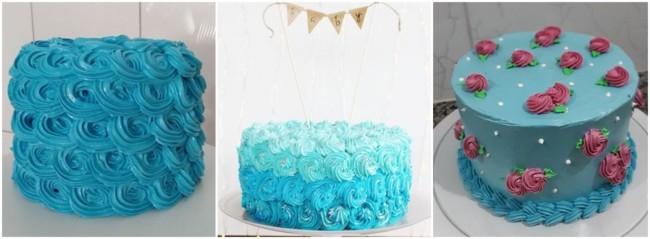 decoração de bolo azul com glacê
