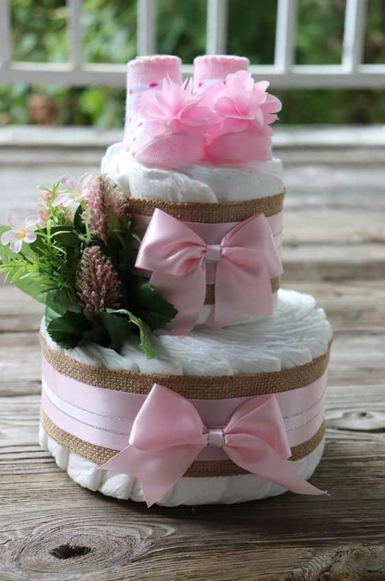 bolo rosa de 2 andares