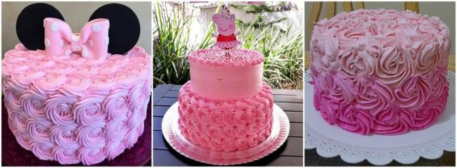 bolo decorado em glacê cor de rosa