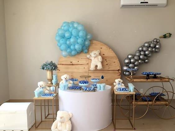 decoração chá de bebê azul com ursos