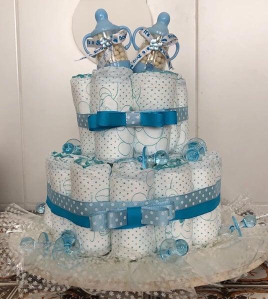 decoração azul para bolo de fraldas