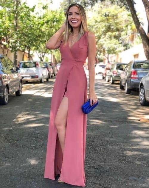 vestido longo para testemunha civil