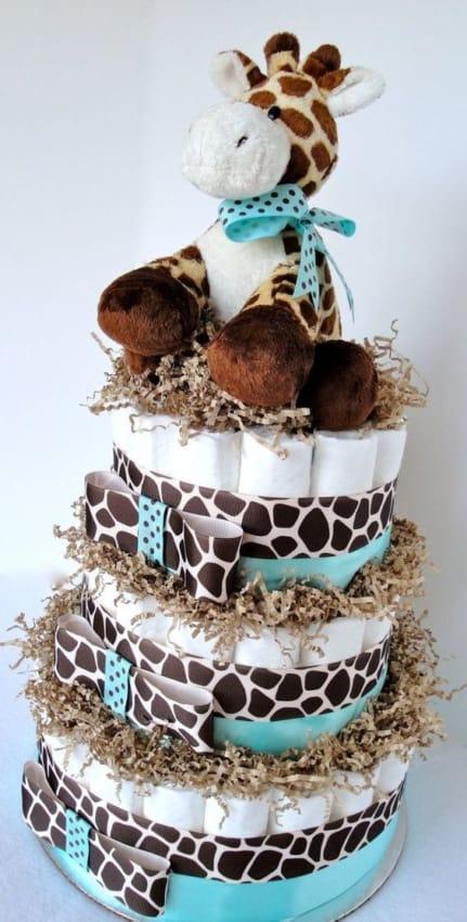 bolo de fraldas de girafa