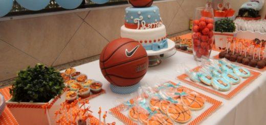 decoração de basquete para chá de bebê menino