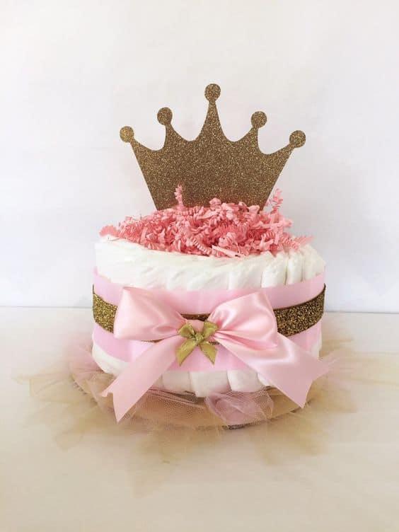 bolo de fraldas de princesa