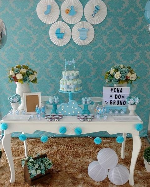 decoração chá de bebê azul