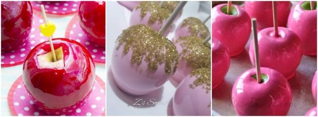 maçã do amor com cobertura rosa