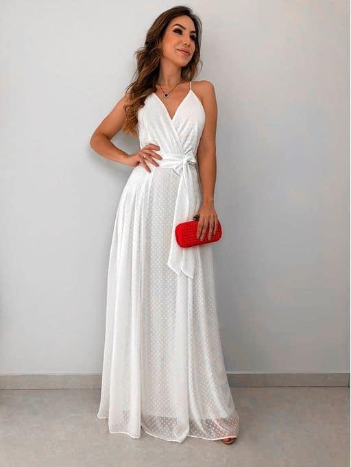 vestido de noiva longo para casamento no civil