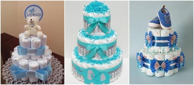 modelos de bolo de fraldas azul