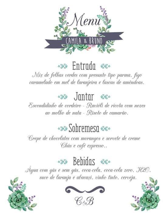 Cardápio para jantar de noivado