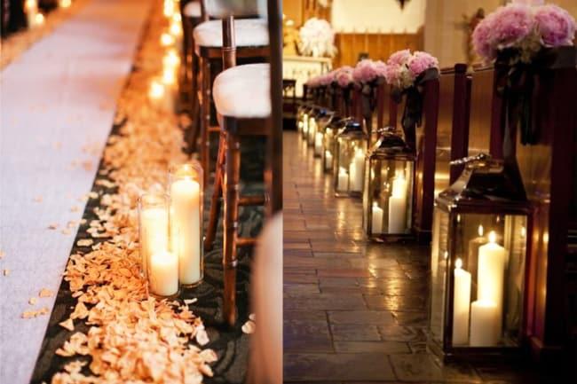Casamento rústico na igreja decorados com velas