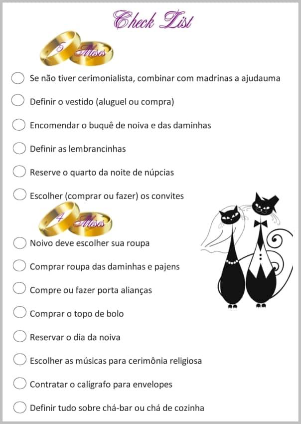 Checklist de casamento 14
