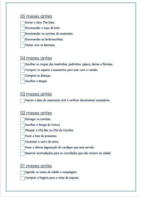 Checklist de casamento 8