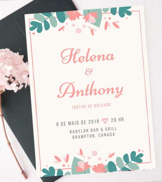 Convite floral de noivado