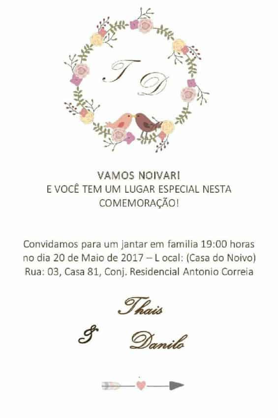 Convite para jantar de noviado