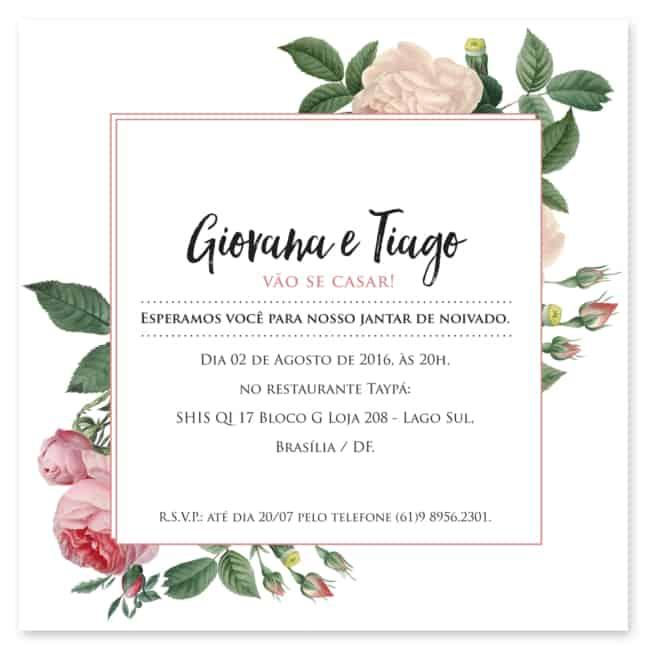 Convite simples para jantar de noivado